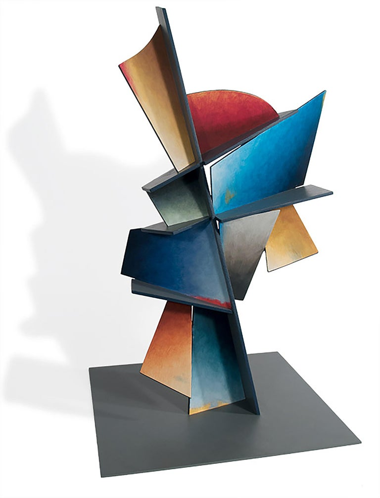 Chris Hill Abstract Sculpture - Hidden Hour - Hand Painted Welded Steel Sculpture Abstract Geometric Form