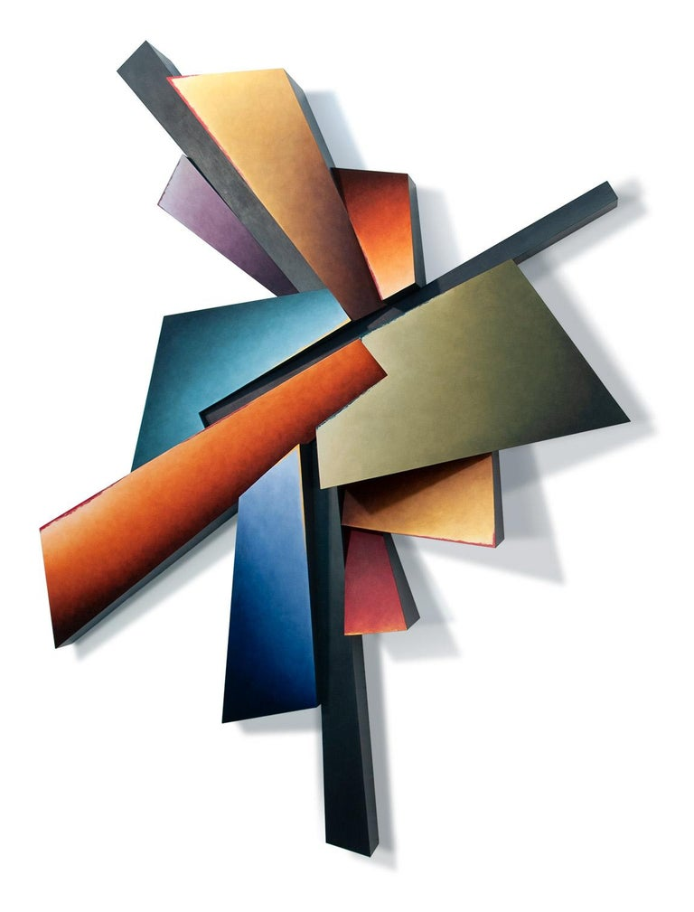 Line Interrupted - Hand Painted Steel Wall Sculpture Abstract Geometric Form - Mixed Media Art by Chris Hill