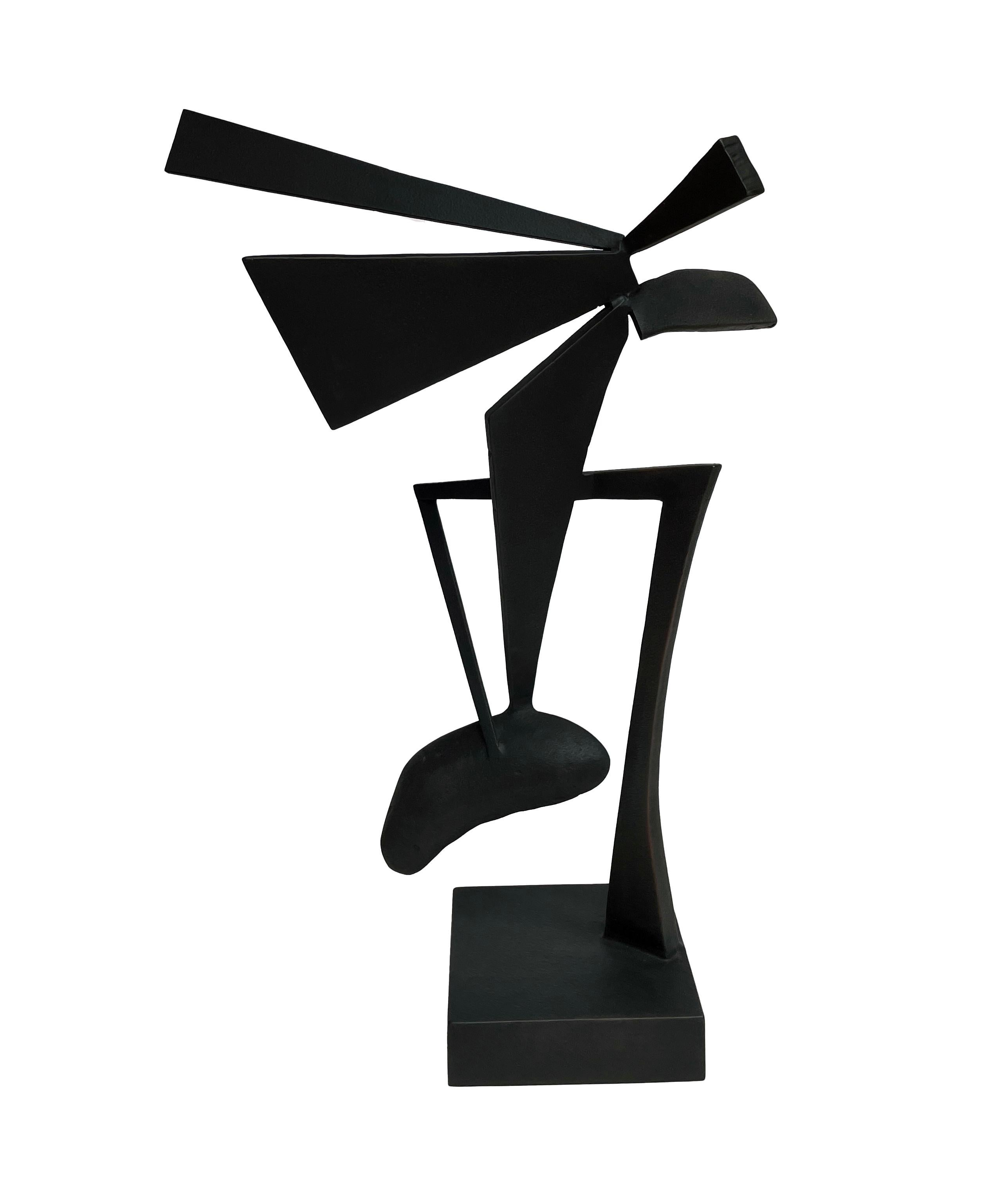 Looking Back - Black Abstract Geometric Form, Welded Steel Sculpture
