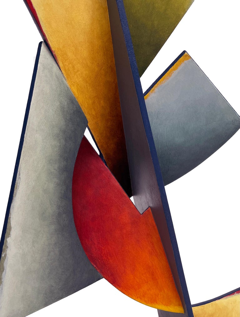 Nightfall Dreams - Abstract Geometric Form, Hand Painted Welded Steel Sculpture  For Sale 7