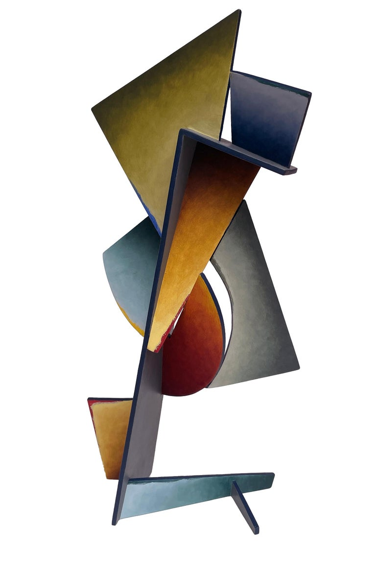 Nightfall Dreams - Abstract Geometric Form, Hand Painted Welded Steel Sculpture  - Brown Abstract Sculpture by Chris Hill