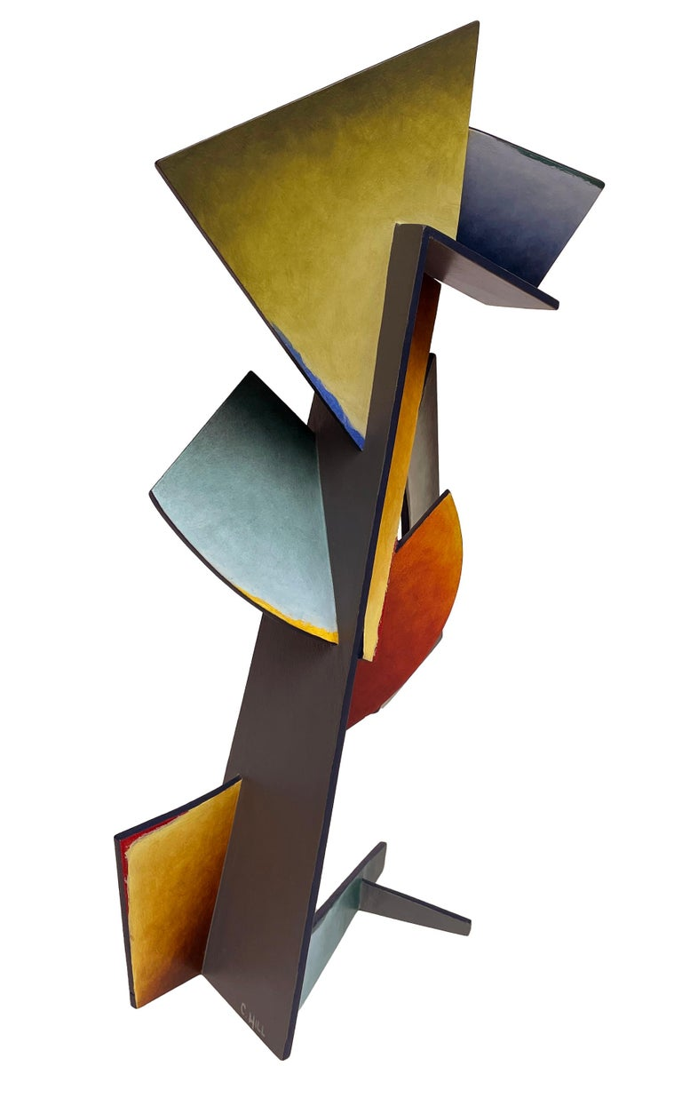 This dynamic table sized sculpture is created from sheets of steel, welded together in an abstract geometric pattern bright blue, orange, purple and yellow dominate and are balanced by softer hues. While the work adheres to a rigid, rational