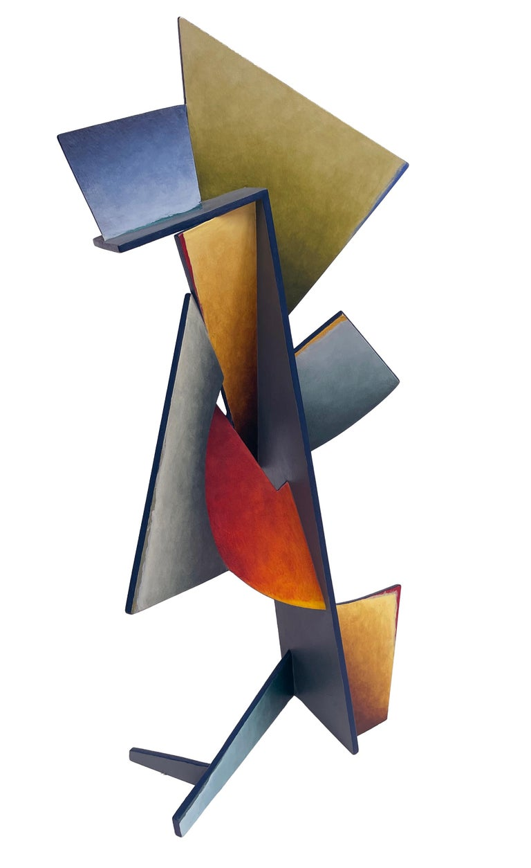 Nightfall Dreams - Abstract Geometric Form, Hand Painted Welded Steel Sculpture  For Sale 2