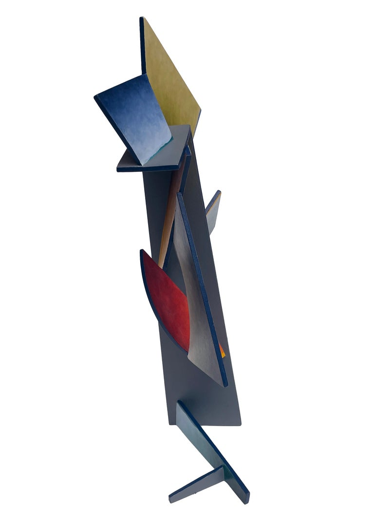 Nightfall Dreams - Abstract Geometric Form, Hand Painted Welded Steel Sculpture  For Sale 3