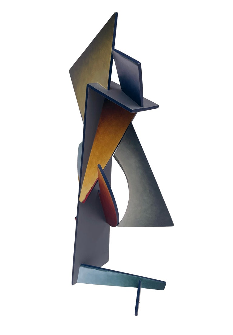 Nightfall Dreams - Abstract Geometric Form, Hand Painted Welded Steel Sculpture  For Sale 4