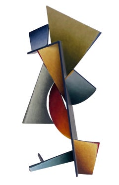 Nightfall Dreams - Abstract Geometric Form, Hand Painted Welded Steel Sculpture