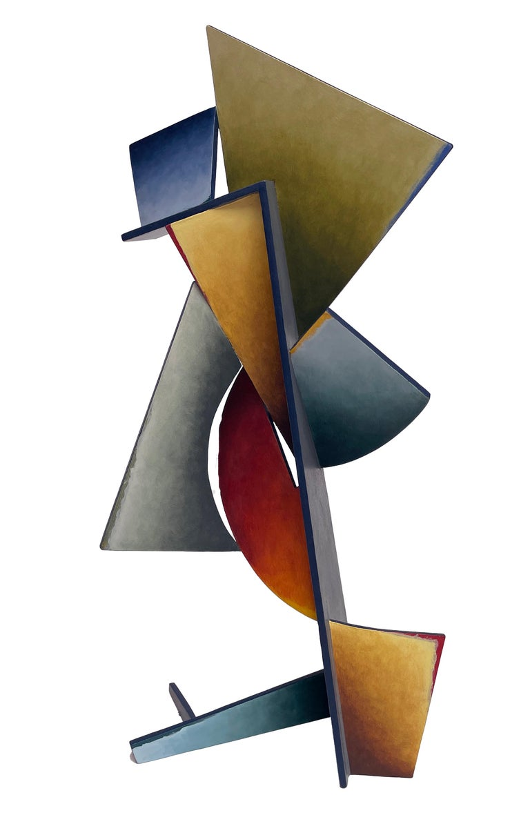 Chris Hill Abstract Sculpture - Nightfall Dreams - Abstract Geometric Form, Hand Painted Welded Steel Sculpture