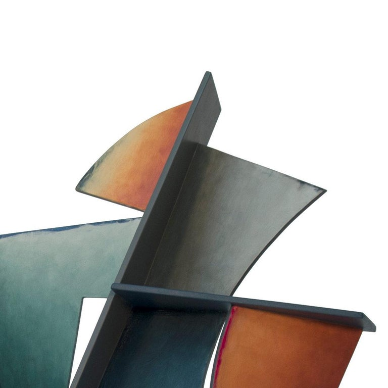 Nightfall - Hand Painted Welded Steel Sculpture Abstract Geometric Form - Gray Abstract Sculpture by Chris Hill