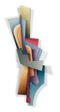 The Journey - Abstract Geometric Form, Hand Painted Welded Steel Wall Sculpture