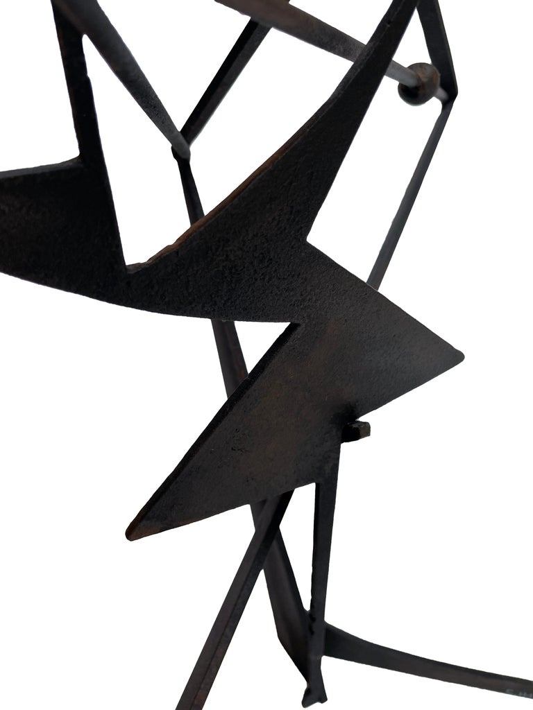 The Shortest Distance - Abstract Geometric Form, Welded Steel Sculpture  For Sale 7