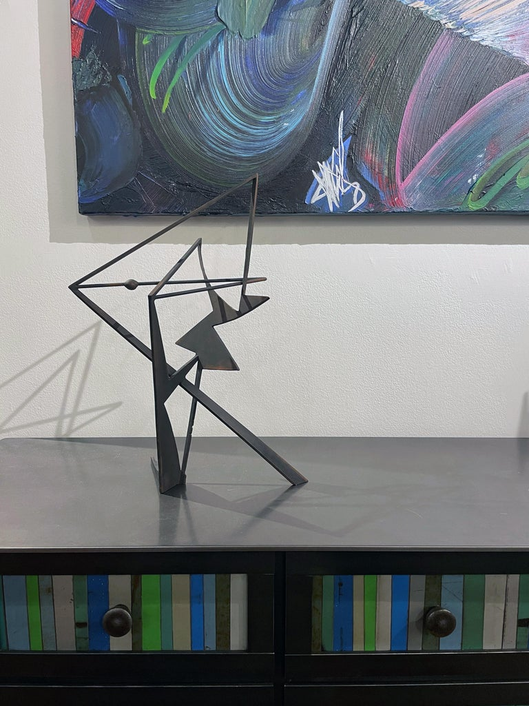 The Shortest Distance - Abstract Geometric Form, Welded Steel Sculpture  For Sale 9