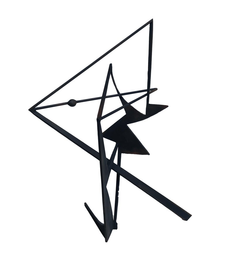 The Shortest Distance - Abstract Geometric Form, Welded Steel Sculpture  - Black Abstract Sculpture by Chris Hill