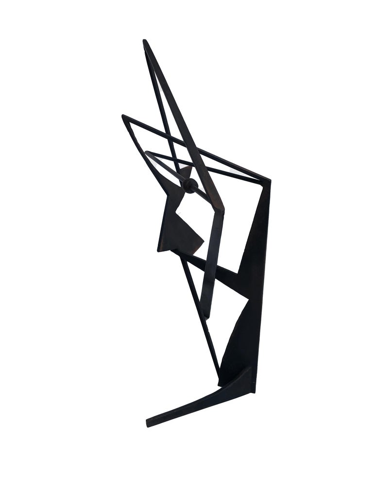 The Shortest Distance - Abstract Geometric Form, Welded Steel Sculpture  For Sale 1