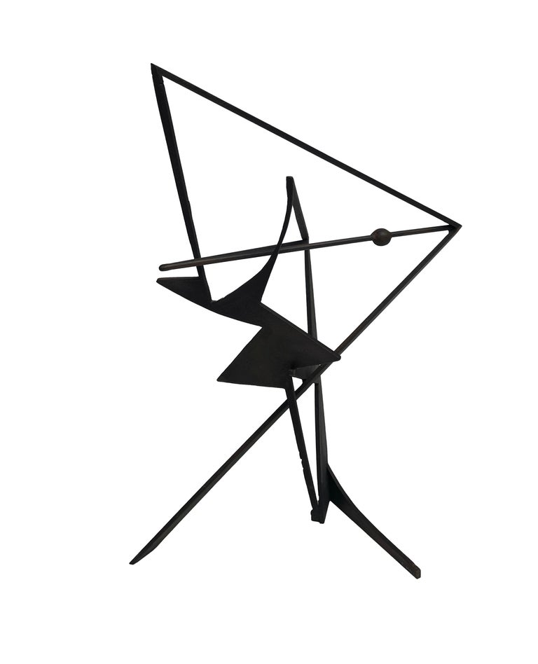 The Shortest Distance - Abstract Geometric Form, Welded Steel Sculpture  For Sale 2