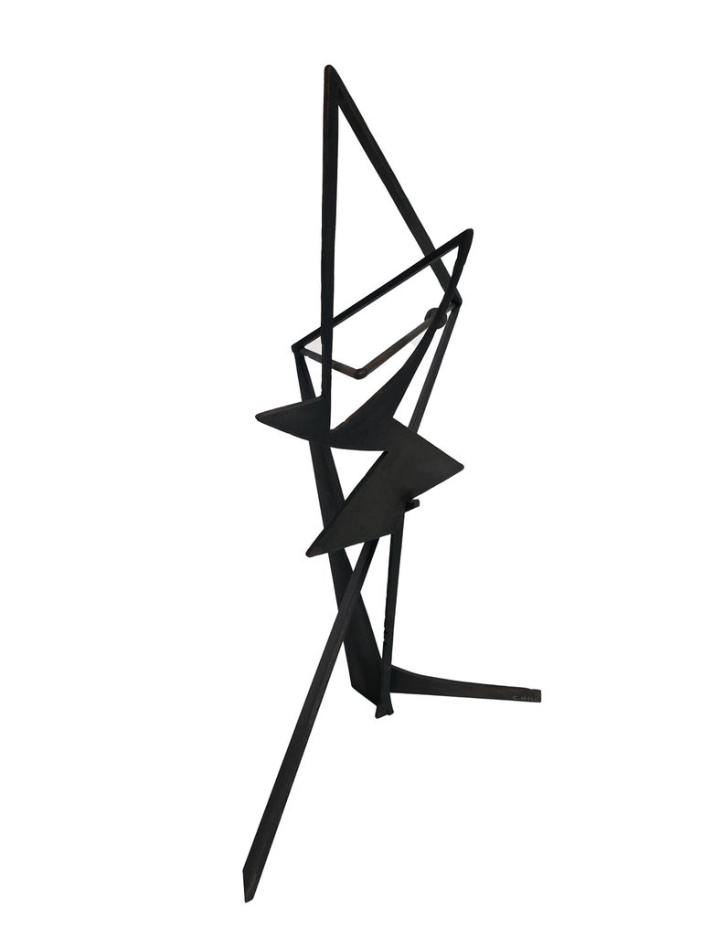 The Shortest Distance - Abstract Geometric Form, Welded Steel Sculpture  For Sale 3