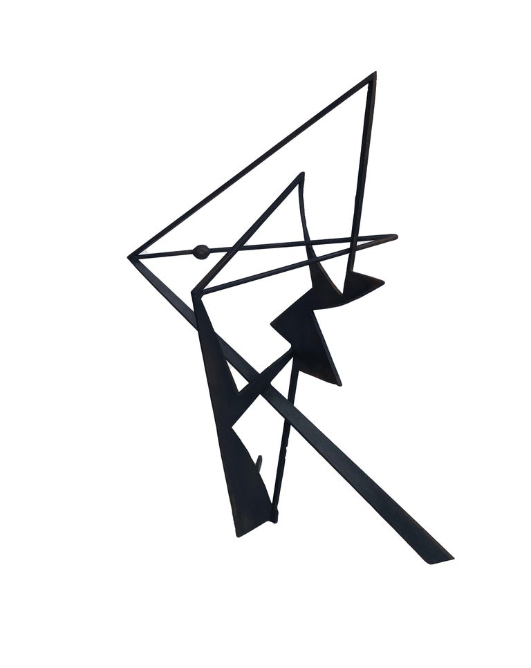 The Shortest Distance - Abstract Geometric Form, Welded Steel Sculpture  For Sale 5
