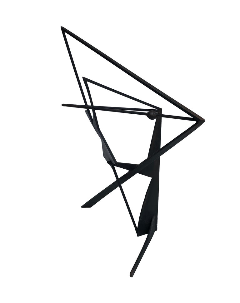 The Shortest Distance - Abstract Geometric Form, Welded Steel Sculpture  For Sale 6