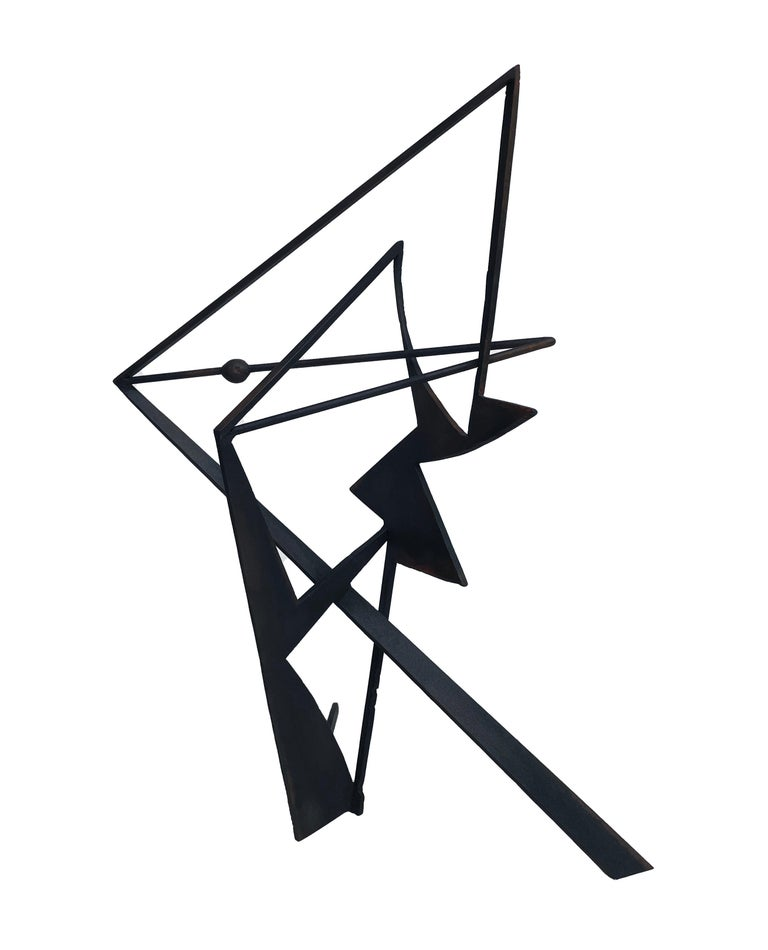 Chris Hill Abstract Sculpture - The Shortest Distance - Abstract Geometric Form, Welded Steel Sculpture