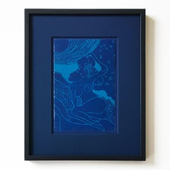 Damascus Nude, Linocut in Artist Frame, Contemporary Art, Young British Artist