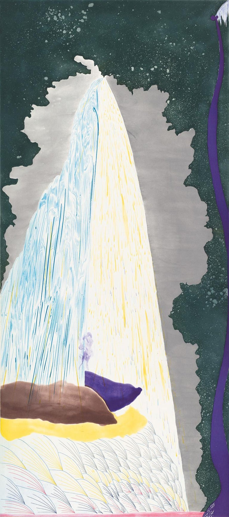 """Color spit bite and sugar lift aquatints with hard ground etching and drypoint. Image size: 45 x 20""""; paper size: 54 x 28"""". Edition 30. Published by Crown Point Press"""