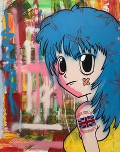 Graffiti Pop Art of Female Figure by Banksy Inspired British Street Urban Artist