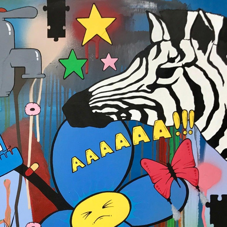 """Social Comment Urban Graffiti Manga Art by British Street Artist Chris Pegg.   Chris Pegg is a self-taught artist from Lancashire, UK. Chris Pegg is inspired by Mr Brainwash British Street Artist.  """"My work can range from simple ink sketches to"""