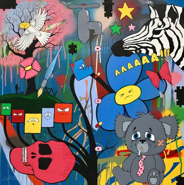 Social Comment Urban Graffiti Manga Art by British Street Artist Chris Pegg - Mixed Media Art by Chris Pegg