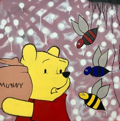 Winnie the Poo Cartoon Urban Graffiti Art by British Street Artist Chris Pegg