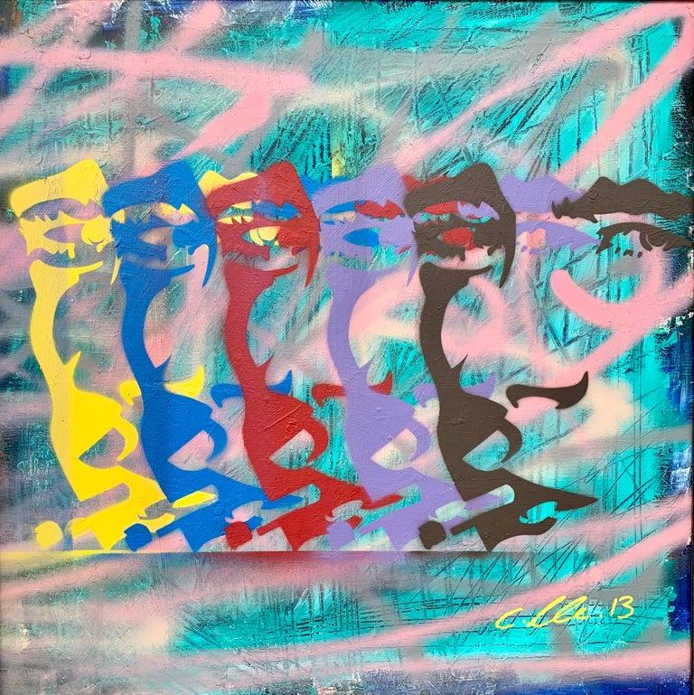 James Dean Smoking Cigarette Portrait Pop Art by British Urban Graffiti Artist - Painting by Chris Pegg