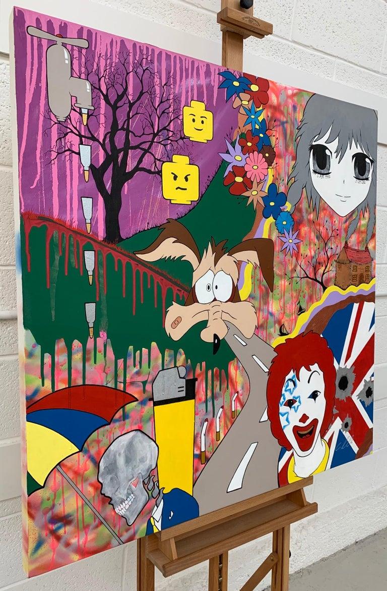 McFuture Colourful Manga Cartoon Pop Art by Young British Urban Graffiti Artist - Painting by Chris Pegg