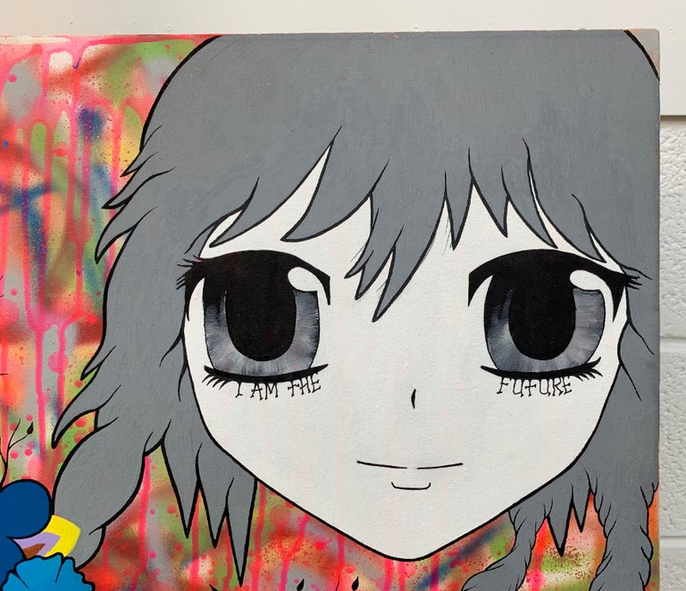 Colourful Manga Cartoon Pop Art by Young British Urban Graffiti Artist, Chris Pegg, entitled 'McFuture'. Chris Pegg is a self-taught Street Artist producing artwork with a strong social commentary.  His work is inspired by artists such as Mr