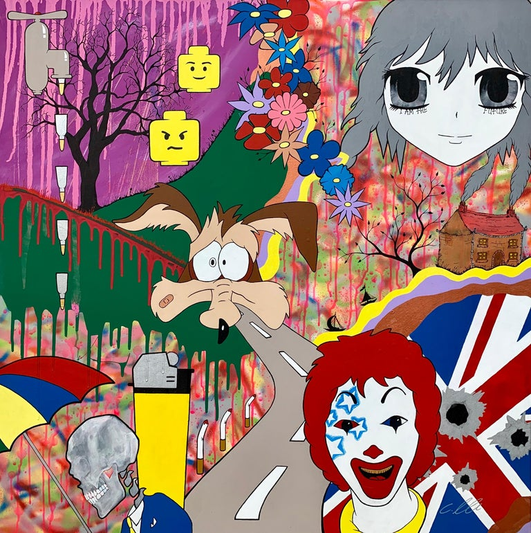 Chris Pegg Figurative Painting - McFuture Colourful Manga Cartoon Pop Art by Young British Urban Graffiti Artist