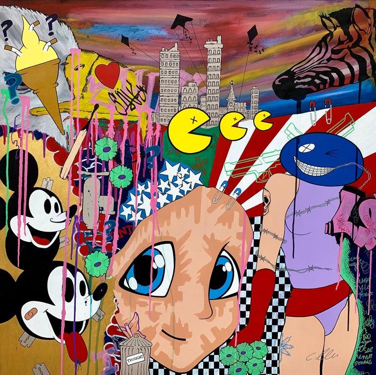Chris Pegg Figurative Painting - Mickey Mouse Walt Disney Manga Cartoon Pop Art by British Urban Graffiti Artist