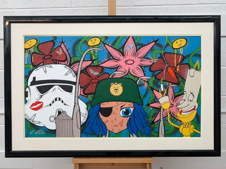 The Good The Bad & The Ugly Pop Art by British Urban Graffiti Artist - Beige Figurative Painting by Chris Pegg