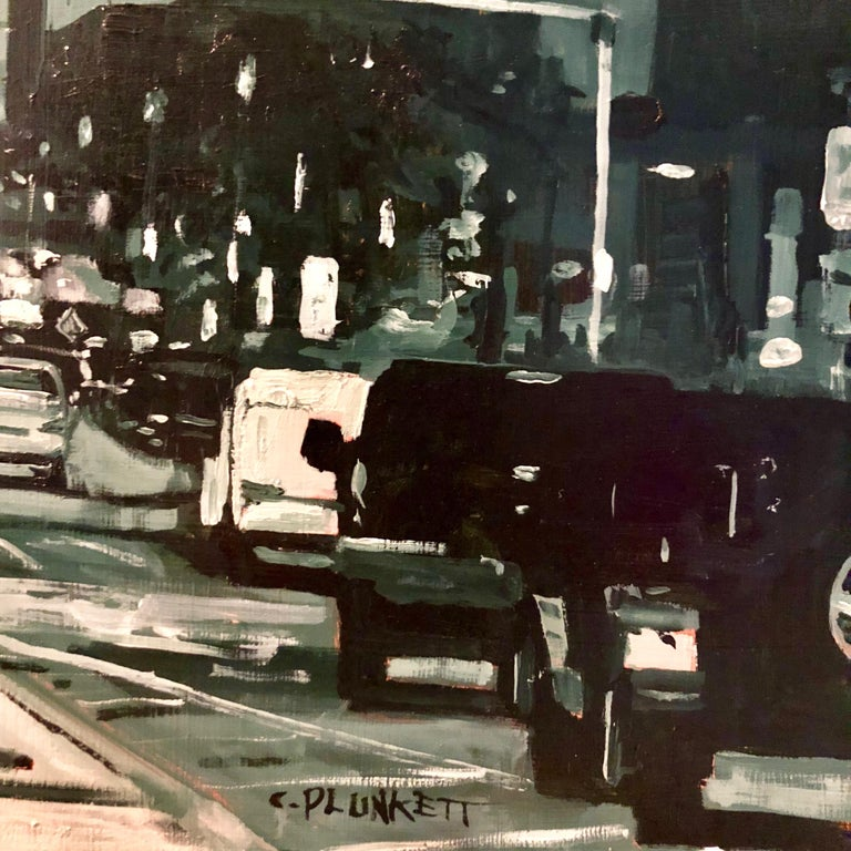"""Chris Plunkett's """"East Berkeley and Harrison Ave"""" is a 30 x 30 inch oil painting on cradled birch wood panel and is part of his """"Red Sky"""" series. This monochromatic cityscape painting pairs a greyscale snapshot of Boston's urban landscape with a"""