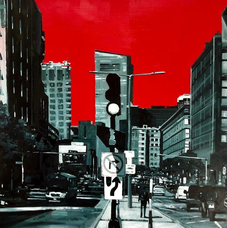 "Chris Plunkett Landscape Painting - ""East Berkeley and Harrison Ave"", oil painting, cityscape, Boston, red, black"