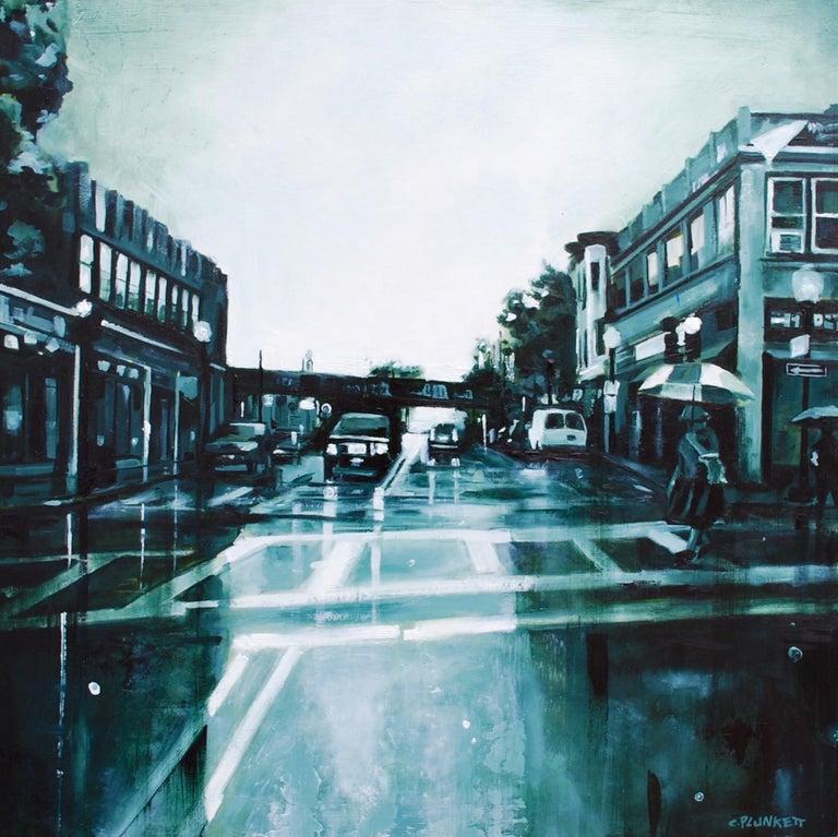 """Fields Corner No. 3"", Chris Plunkett, oil painting, cityscape, Boston, blue - Painting by Chris Plunkett"
