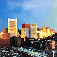 """Sunrise Over the City"", oil painting, cityscape, urban landscape, bold"