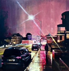"""""""Walking Up Adams"""", oil painting, cityscape, urban landscape, night, red, black"""