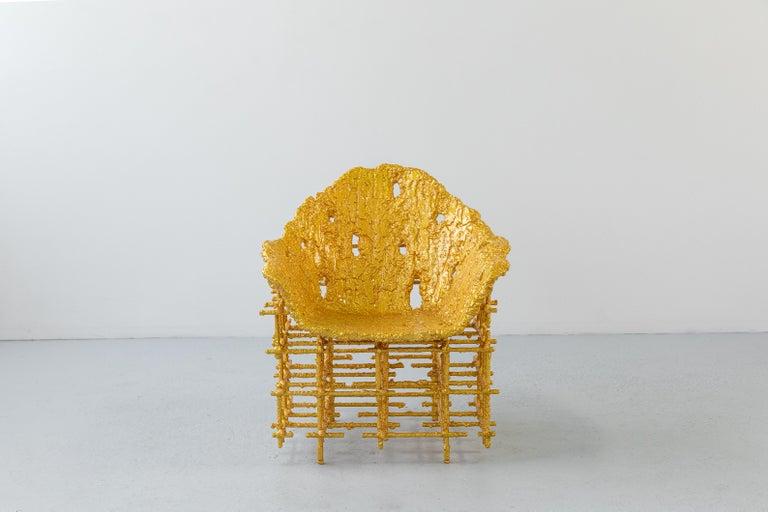 Chris Schanck [American, b. 1975] Shell Chair: Red Gold, 2019 Steel, polystyrene, polyurea, aluminum foil, resin Measures: 40 x 31 x 31 inches 101 x 79 x 79 cm