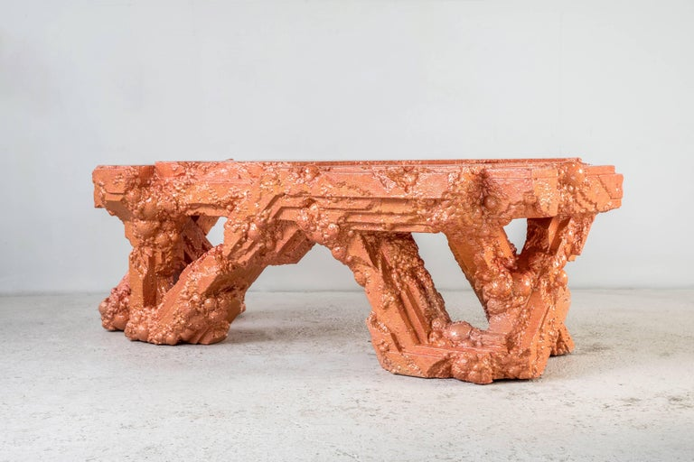 Chris Schanck [American, b. 1975] Cu, 2018 Resin, steel, polystyrene Measures: 30 x 86 x 39 inches 76 x 218 x 99 cm  Detroit-based designer Chris Schanck embraces contradiction in his work, finding a comfortable place between the distinctions