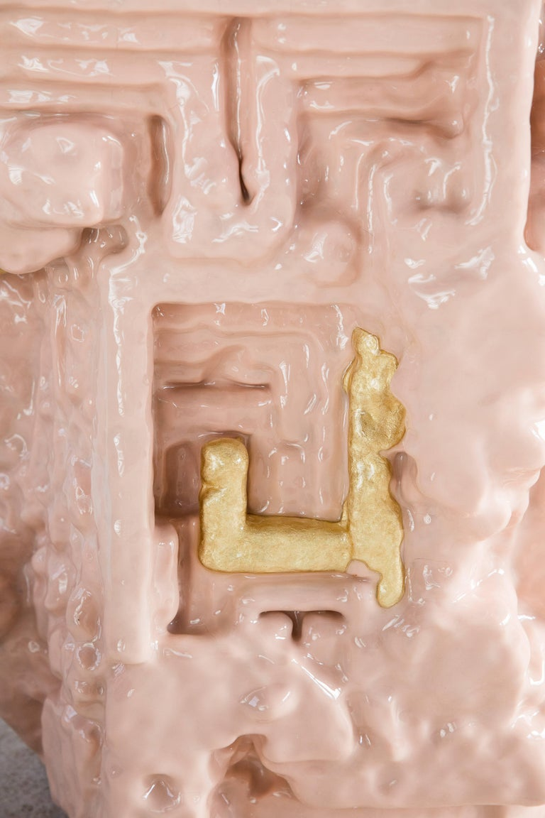 Chris Schanck, 'Fleshbot' Side Table, Pink, Gold, Aluminum, Clay, Resin, 2018 In New Condition For Sale In New York, NY