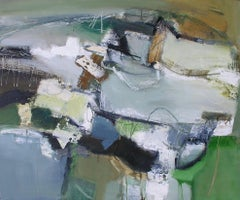 Common Ground: Gestural Abstract Landscape Painting with Blue and Green