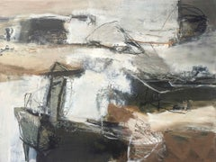 Dispersed: Gestural Abstract Landscape Oil Painting in Earth Tones