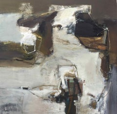 Folding Contour: Gestural Abstract Landscape Oil Painting by Chris Sims