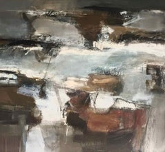 Sea Change: Gestural Abstract Landscape Oil Painting in Earth Tones