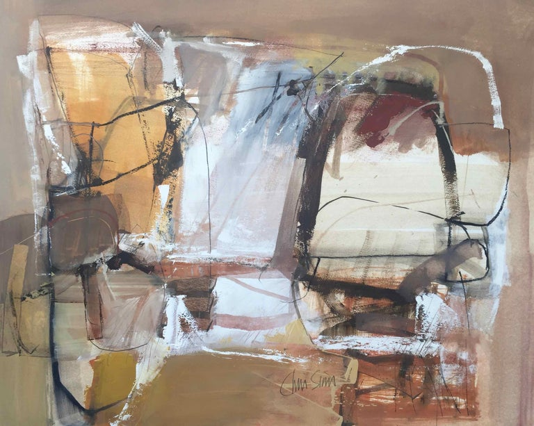 Work On Paper Lp27 Abstract Landscape Oil Painting By Chris Sims