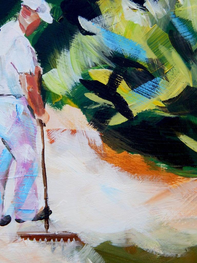 Zen Gardener - Gray Landscape Painting by Chris Wagner