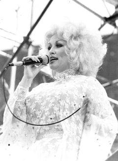 Dolly Parton Singing into Microphone Vintage Original Photograph