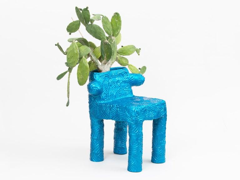 American Chris Wolston Blue Metallic Terracotta Plant Chair For Sale